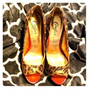 Candie's cheetah print & red peep toe heels